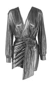 She's Got It All Metallic Long Lantern Sleeve Cross Wrap V Neck Ruched Wrap Tulip Bodycon Mini Dress - 4 Colors Available
