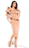Be Faithful Nude One Shoulder Ruffle Peplum Twist Front Two Piece Bodycon Midi Dress - Sold Out