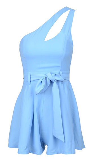 Just Right Sky Blue Cut Out One Shoulder Tie Waist Romper Playsuit - Sold out