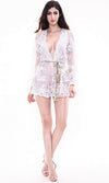 True Romance White Sheer Mesh Lace Long Sleeve Plunge V Neck Tassel Tie Belt Playsuit Romper