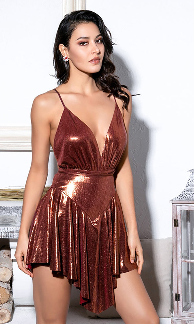 Kick Up Your Heels Dark Rose Gold Metallic Sleeveless Spaghetti Strap Backless V Neck Pleated Romper Playsuit