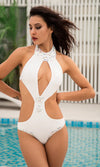 Hot Shot White Sleeveless Halter Gemstone Cut Out Keyhole One Piece Monokini Swimsuit