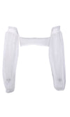Island Escape White Chiffon Long Lantern Sleeve Off The Shoulder Shirred Bandeau Crop Top - Sold Out