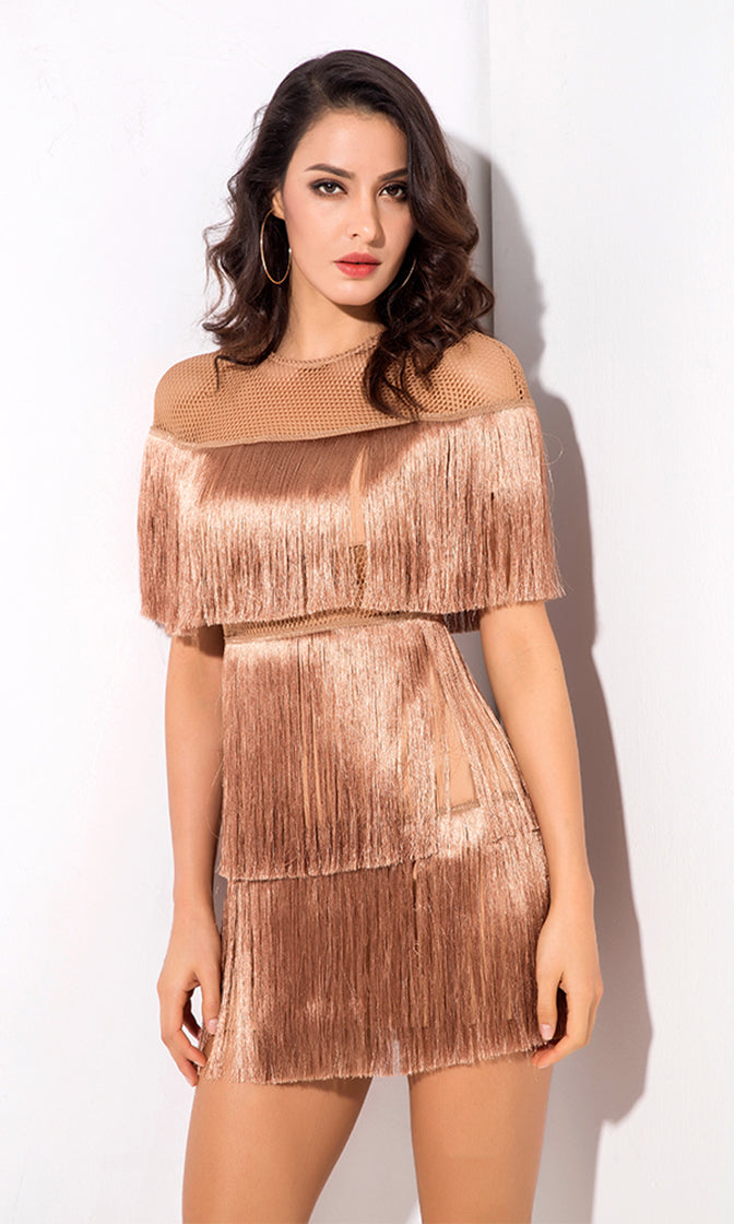 Best Romance Nude Fringe Sheer Mesh Short Sleeve Crew Neck Mini Dress