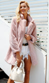 Down For Anything Long Belted Sleeve Faux Fur Hood Thick Winter Coat Outerwear - 4 Colors Available