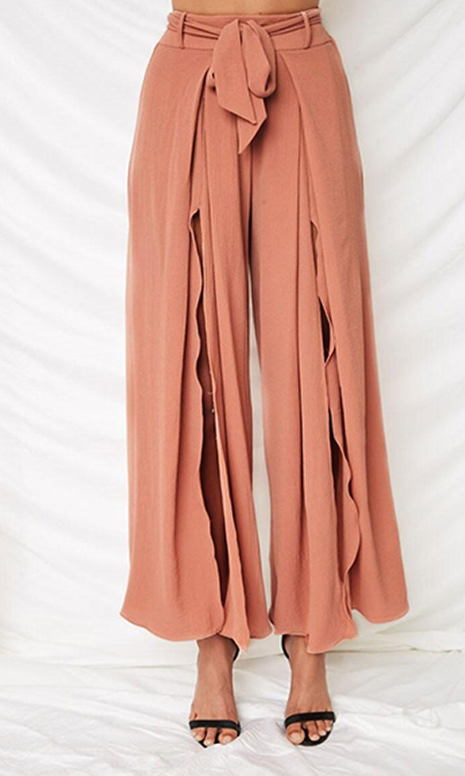 Slow It Down High Waist Elastic Tie Belt Split Front Loose Wide Leg Pants - 4 Colors Available