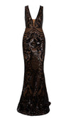 So Much To Say Black Sheer Mesh Sequin Geometric Pattern Sleeveless Plunge V Neck Mermaid Maxi Dress