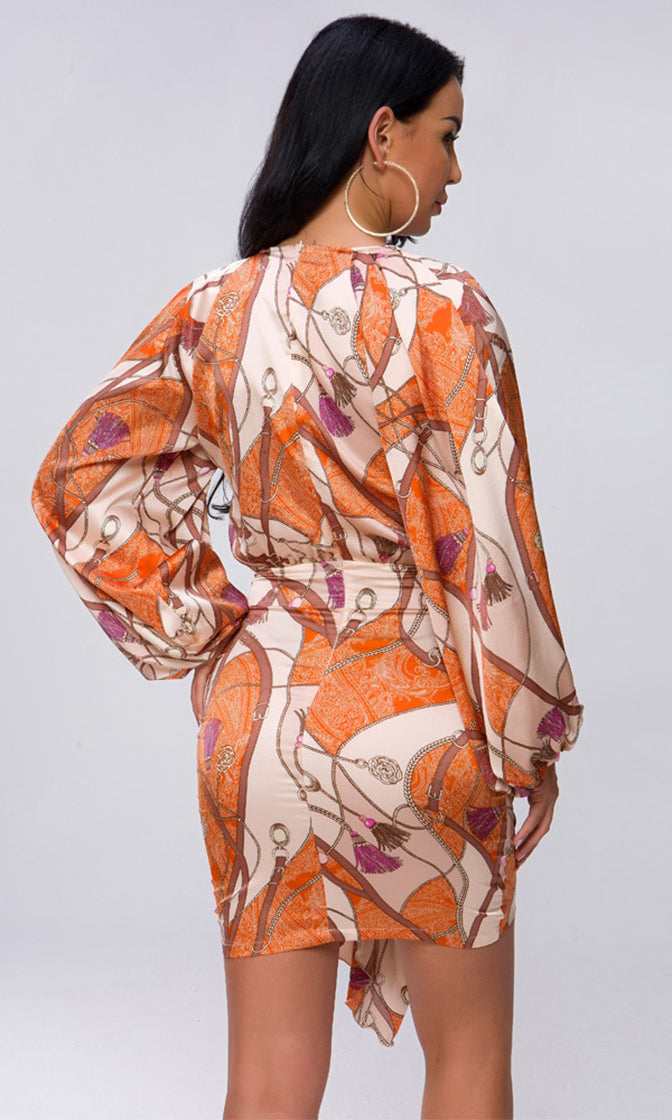 Walk The Walk Orange Beige Pink Chain Geometric Pattern Long Sleeve Plunge V Neck Ruched Sash Bodycon Mini Dress - Sold Out