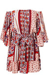Wishing You Well Red Floral Pattern Long Bell Sleeve Off The Shoulder Tie Waist Casual Mini Dress - Sold Out