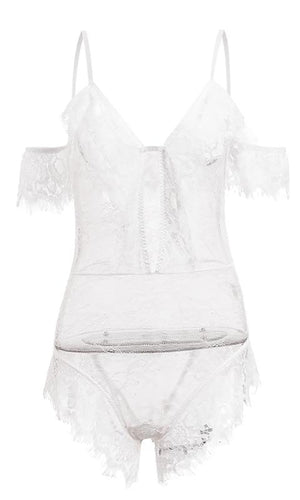 Under The Covers White Sheer Mesh Lace Short Sleeve Off The Shoulder Spaghetti Strap V Neck Lingerie Bodysuit Top - Sold Out