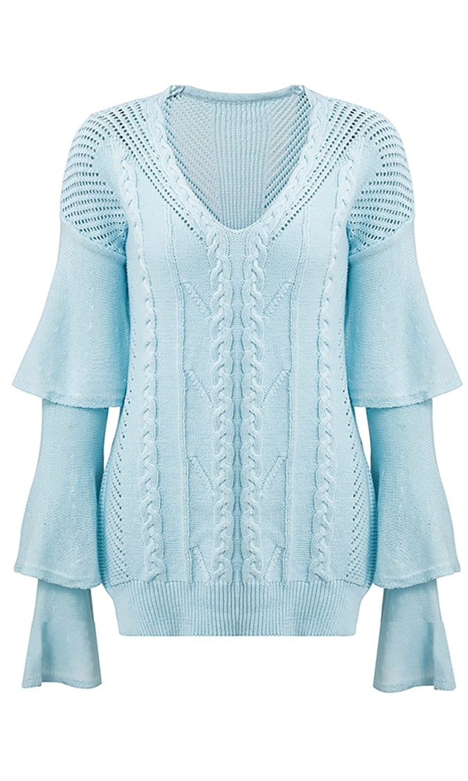 It's Complicated Long Tiered Sleeve V Neck Cable Side Slit Tunic Pullover Sweater - 6 Colors Available