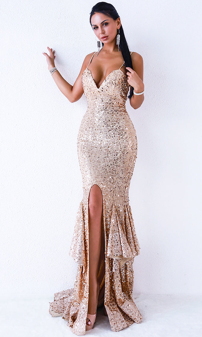 Sparkling Romantic Gold Sequin Sleeveless Spaghetti Strap Plunge V Neck Ruffle Mermaid Maxi Dress