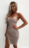 Wild Tonight Silver Glitter Sleeveless Spaghetti Strap V Neck Ruched Slit Bodycon Midi Dress