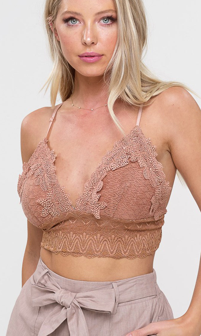 Classic Beauty Sleeveless Lace Spaghetti Strap V Neck Smocked Back Bralette Lingerie Crop Top - 13 Colors Available (Pre-order)