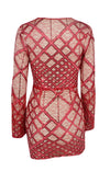 Made You Blush Red Lace Geometric Pattern Sequin Feather Long Sleeve Plunge V Neck Bodycon Mini Dress