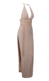 Loving You Nude Sleeveless Plunge V Neck Backless Gold Chain High Slit Maxi Dress
