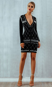 Stack It Out Black Pearl Beading Geometric Pattern Long Sleeve Plunge V Neck Double Zip Bodycon Bandage Mini Dress