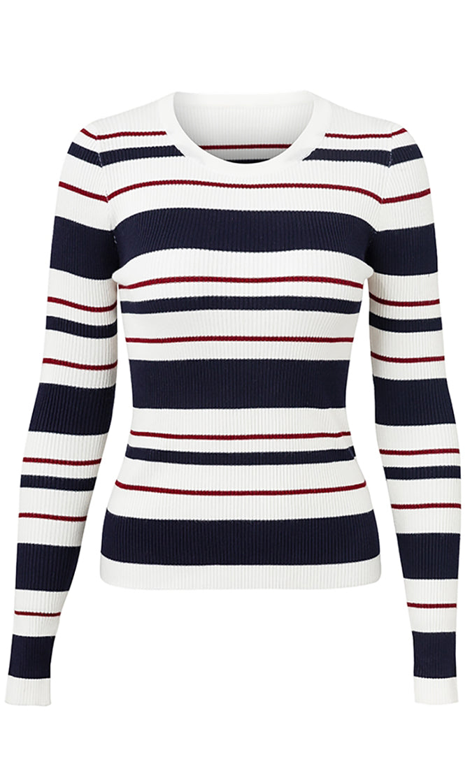 Hit The Books Stripe Pattern Ribbed Long Sleeve Crew Neck Fitted Pullover Sweater - 2 Colors Available