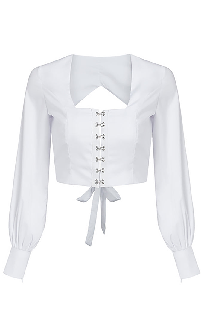 Rock Me Long Sleeve Square Neck Hook And Eye Cut Out Tie Back Crop Top Blouse - 3 Colors Available