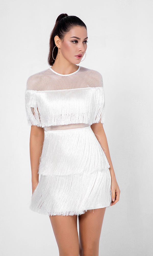 Best Romance White Fringe Sheer Mesh Short Sleeve Crew Neck Mini Dress