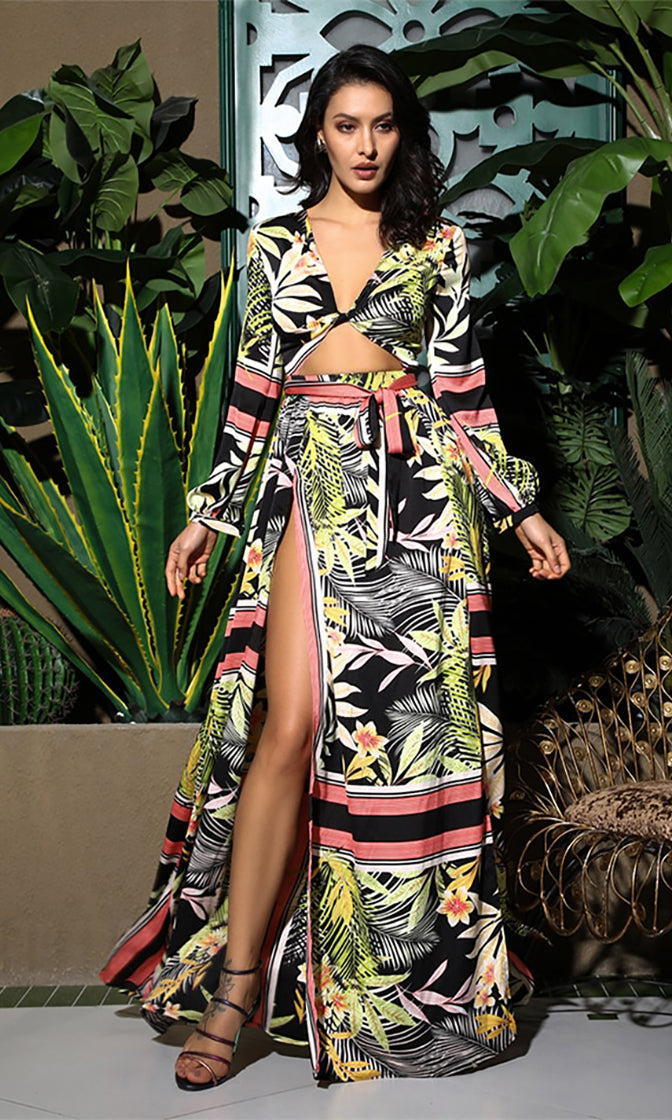 Last Mile Yellow Black Floral Tropical Pattern Long Sleeve V Neck Cut Out Waist A Line Casual Maxi Dress