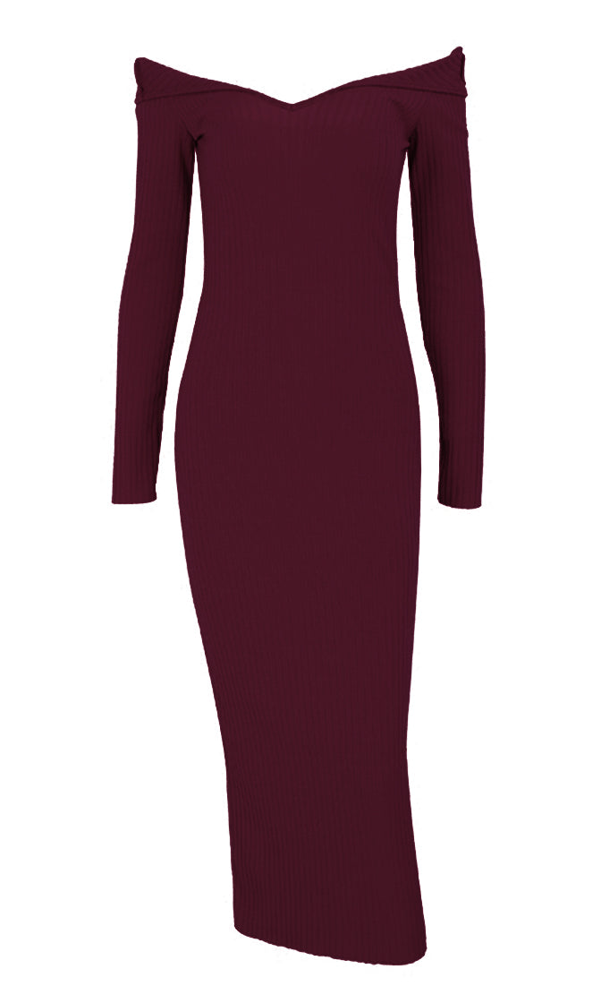 Get On Top Long Sleeve Ribbed Off The Shoulder V Neck Casual Bodycon Midi Dress - 3 Colors Available
