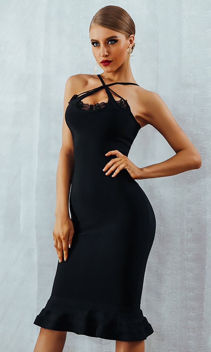 Totally Unfiltered Black Lace Trim Sleeveless Crisscross Strap Ruffle Mermaid Bodycon Bandage Midi Dress