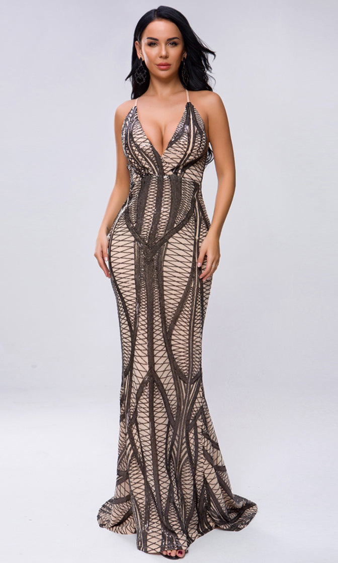 Serious Curves Beige Black Sequin Geometric Pattern Sleeveless Spaghetti Strap Backless V Neck Mermaid Maxi Dress
