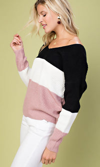 Time To Twist Black White Pink Stripe Pattern Long Dolman Sleeve V Neck Knot Back Pullover Sweater - Sold Out