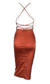 Watch Me Shine Orange Satin Sleeveless Spaghetti Strap Lace Up Backless Drape V Neck Bodycon Midi Dress