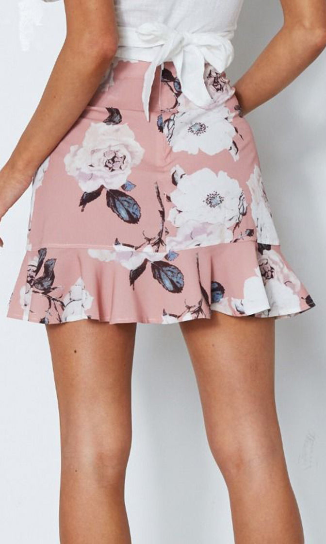 Floral Wishes Pink Flower Pattern Cross Wrap Ruffle Casual A-line Mini Skirt - Sold Out