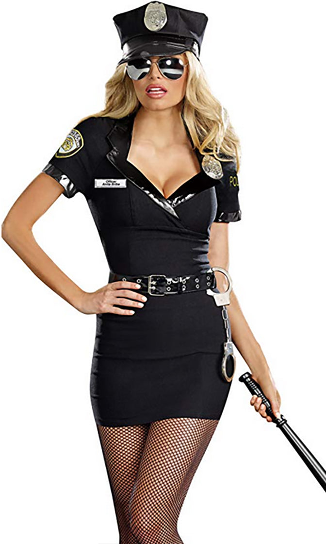 Lock Him Up Black Short Sleeve V Neck Police Uniform Bodycon Mini Dress Costume