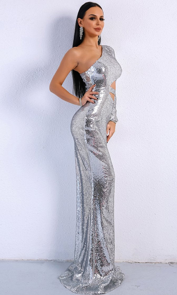 Wild Ways Silver Sequin One Shoulder Long Sleeve Cut Out Side Maxi ...