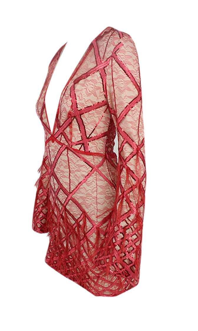 Made You Blush Red Lace Geometric Pattern Sequin Feather Long Sleeve Plunge V Neck Bodycon Mini Dress - Sold Out