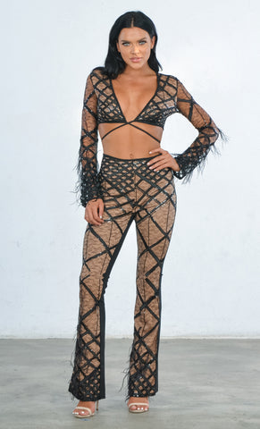 Indie XO No Rules White Sheer Mesh Feather Long Sleeve Diamond Geometric Pattern V Neck Crop Top Pant Two Piece Jumpsuit