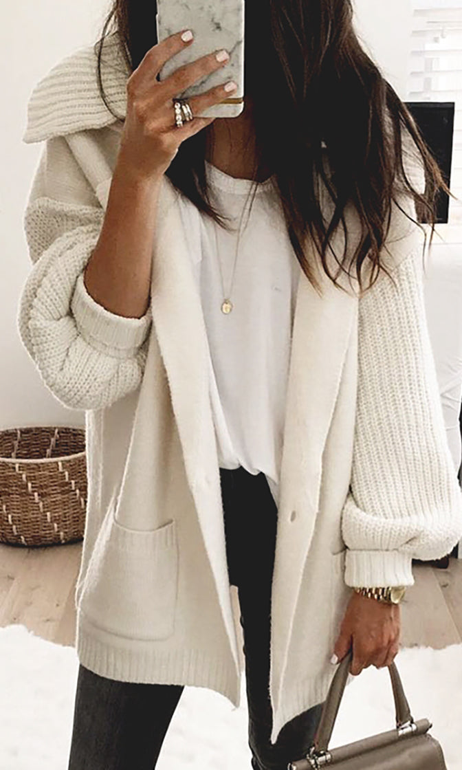 Very Necessary White Long Lantern Sleeve One Button Collar Cardigan Sweater