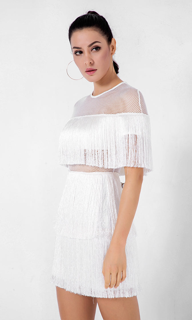 8adfd3757e0 Best Romance White Fringe Sheer Mesh Short Sleeve Crew Neck Mini Dress