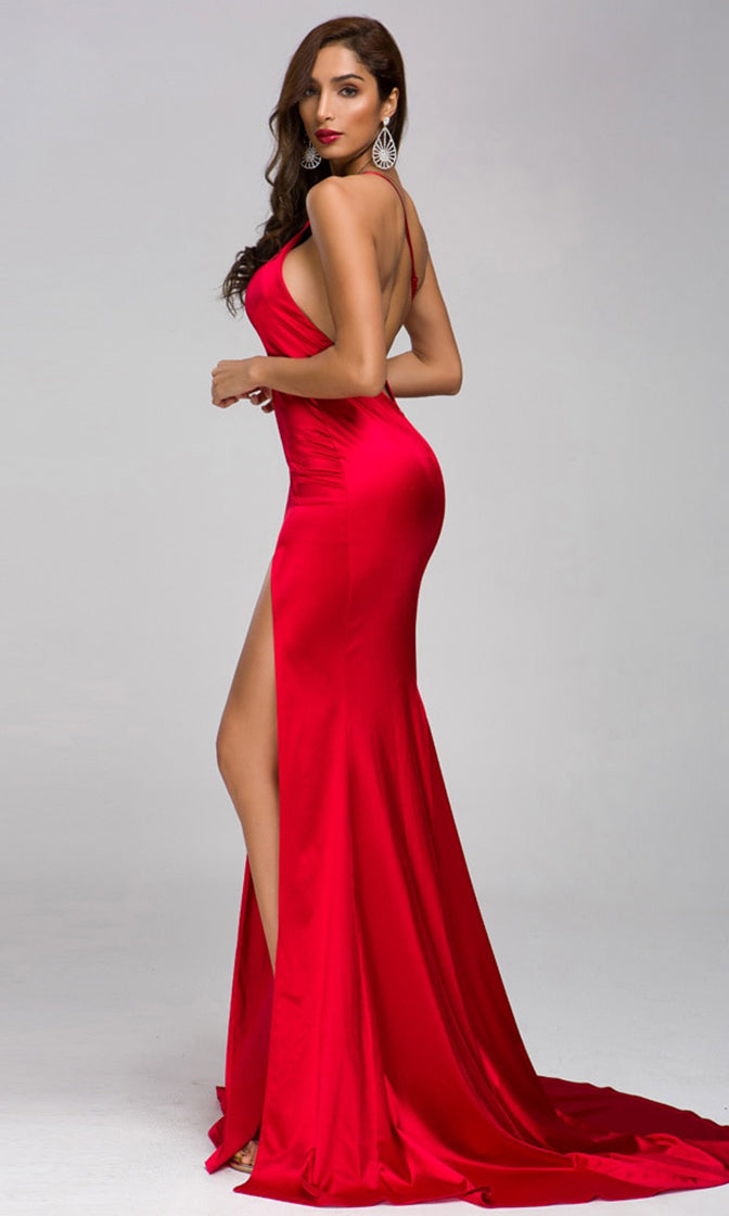 Kiss On The Lips Red Satin Sleeveless Spaghetti Strap Asymmetric One Shoulder Backless High Slit Maxi Dress