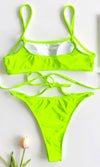 Costa Rica Dreams Spaghetti Strap Crop Top Strappy Cut Out Thong Two Piece Bikini Swimsuit - 4 Colors Available