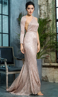 Hollywood Moment Champagne Sequin One Shoulder One Long Sleeve Backless Mermaid Maxi Dress