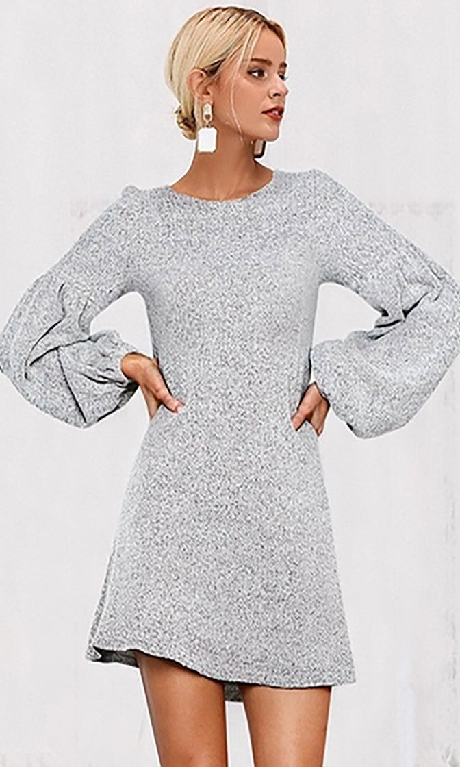Mod Mystique Long Lantern Sleeve Round Neck Sweater Knit Casual Mini Dress - 4 Colors Available