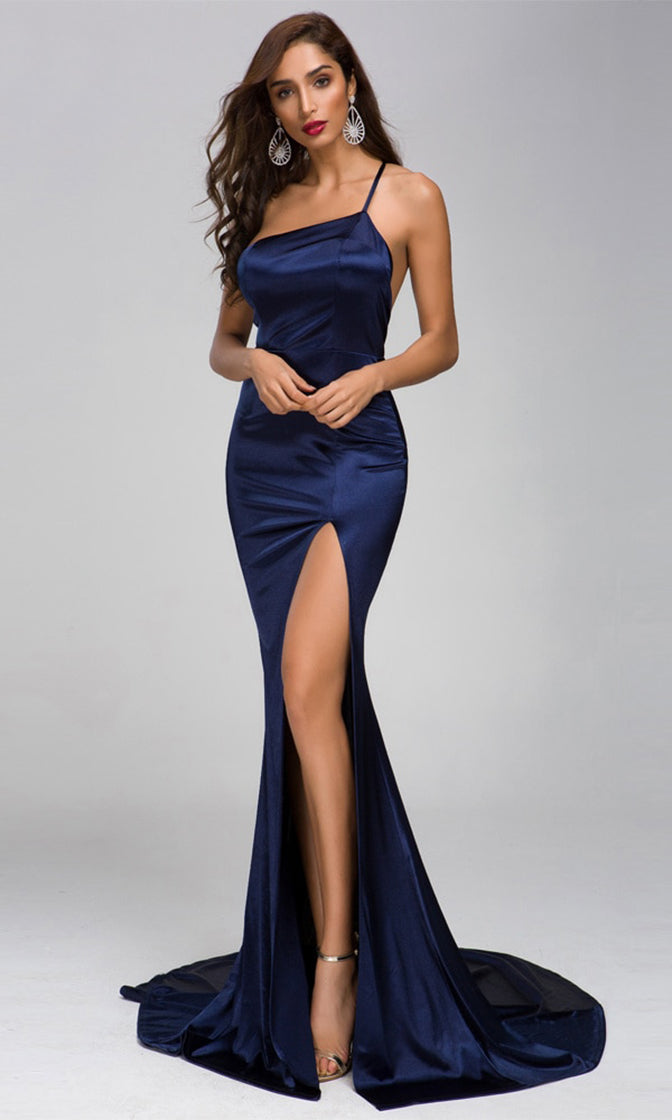 Kiss On The Lips Navy Blue Satin Sleeveless Spaghetti Strap Asymmetric One Shoulder Backless High Slit Maxi Dress