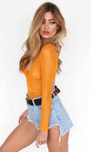 Whispers And Lies Yellow Sheer Mesh Lace Long Sleeve V Neck Cut Out Back Bodysuit Top