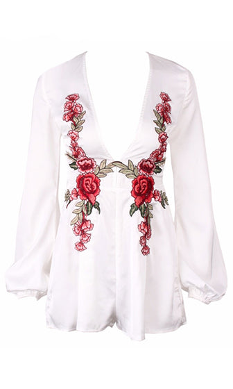 Garden Girl White Red Grey Long Sleeve Plunge V Neck Rose Floral Romper Playsuit