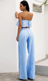 Holiday In Florence Light Blue Vertical Stripe Pattern Strapless Ruffle Crop Top Loose Wide Leg Pants Two Piece Jumpsuit Set - Sold Out