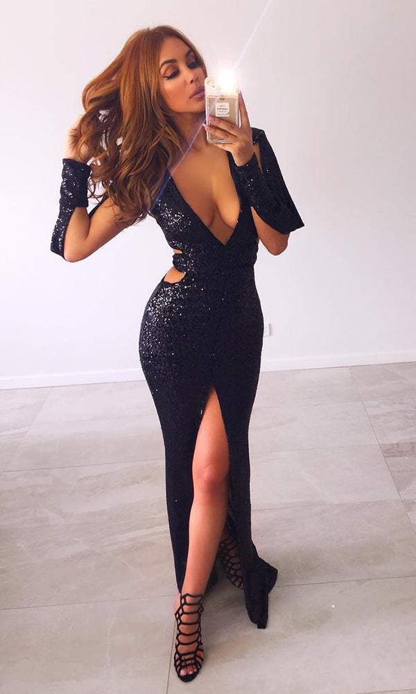 Stop And Stare Black Sequin Long Slit Sleeve Plunge V Neck Cut Out Side Slit Maxi Dress