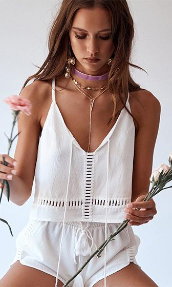 Free Country White Sleeveless Spaghetti Strap V Neck Cut Out Crop Two Piece Romper Playsuit