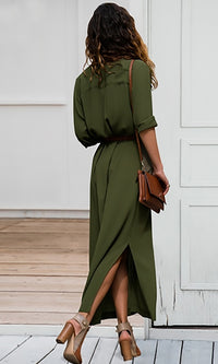 Love Me Forever Long Sleeve Button Front Split Casual Maxi Shirt Dress - 3 Colors Available