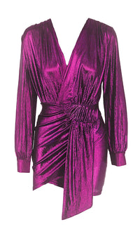She's Got It All Purple Metallic Long Lantern Sleeve Cross Wrap V Neck Ruched Wrap Tulip Bodycon Mini Dress - 4 Colors Available