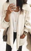 Very Necessary White Long Lantern Sleeve One Button Collar Cardigan Sweater - Sold Out